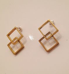 Square vintage stud earrings $48 by Raised by wolves NYC