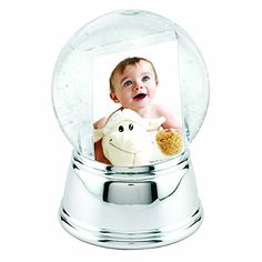 Large Photo Snow Globe with Silver Base