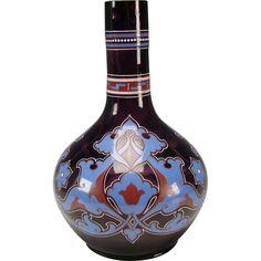 Antique Bohemian Czech Amethyst Poschinger Enamel Art Glass Vase