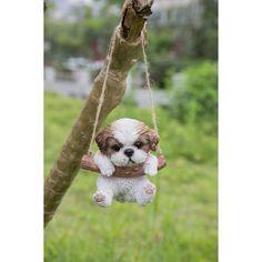 Hi-Line Gift Garden Statue Hanging Shih Tzu Puppy - Popular Dog Lover Gifts, Dog Gifts, Cute Baby Animals, Funny Animals, Wild Animals, Cute Puppies, Cute Dogs, Shitzu Puppies, Brown Puppies