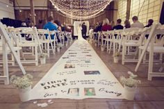 "Wedding aisle idea - photo/text journey from first date to ""I do"". Unique aisle runner for wedding aisle. Wedding Aisles, Wedding Ceremony Ideas, Wedding Events, Wedding Reception, Weddings, Wedding Walkway, Budget Wedding, Diy Wedding Aisle Runner, Ceremony Seating"