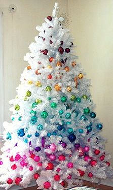 This is not my preference but it looks so fun!! Colorful rainbow Christmas tree