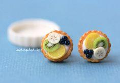 Fruit Tart/Pie/Cake Earrings  Breezy Blue Green  S  by PetitPlat, €18.00