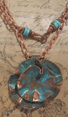 SOLD....copper flower turquoise patina necklace by JenniZJewelZ on Etsy