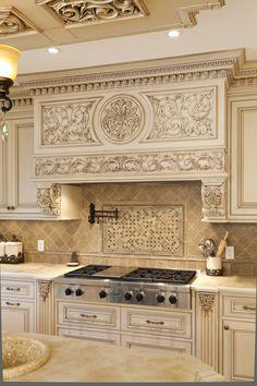 Elegant Kitchens, Luxury Kitchens, Beautiful Kitchens, Home Kitchens, Kitchen Hood Design, Tuscan Kitchen Design, Classical Kitchen, New Jersey, Custom Kitchens