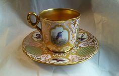 Estate 19th Century Incredible Coalport Enamel Birds Jeweled Cabinet Cup Saucer
