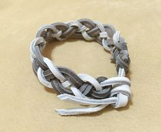 Gray and white braided leather bracelet, braided leather bracelet, mens bracelet, mens leather cuff. by ChristyKeysCreations on Etsy