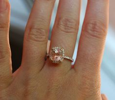 3.67ct cushion Peach sapphire Champagne sapphire ring diamond ring 14k rose gold Engagement ring. $4,000.00, via Etsy. GORGEOUS