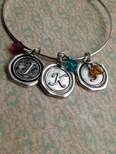 Wax Seal Initial And Birthstone charm bracelet by outoftheblue, $26.00