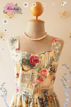 English Rose :  Rose floral dress party dress whimsical sundress vintage inspired dress summer dress tea party dress-Size xs-xl, custom