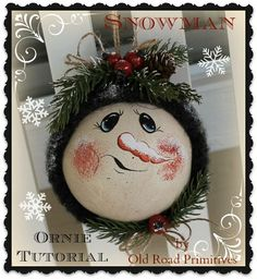 Are you ready for a ***FREE***  fun little ~Snowman~ Ornie Tutorial  from ORP ? This is a NO SEW  project, that would be great for those of you ladies who are looking to do Christmas craft shows this Fall! These little snowman ornies are super easy  and fun  to make with few supplies needed !  Supplies:   Jute 1 Rusty Bell Sealer (Optional) Wool or Old Wool Sweater  Heirloom White Rust-oleum Spray Paint 1 Round Clear Plastic Christmas Ornament      Christmas Greenery, Red Berri