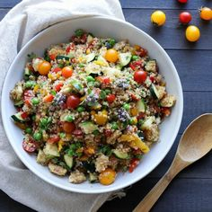 This fresh quinoa salad is packed full of veggies and finished with a delicious, light balsamic vinaigrette.