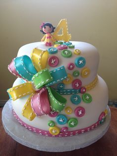 Lalaloopsy Cake with buttons, bow and Snowy Fairest