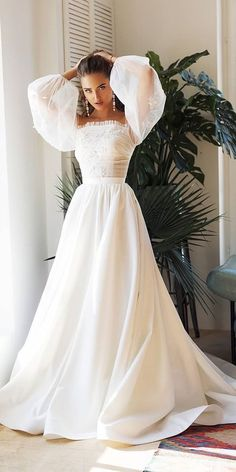 Trendy Wedding Dresses For Contemporary Bride ?trendy wedding dresses simple a line with sleeves straight neckline alex veil : Trendy Wedding Dresses For Contemporary Bride ?trendy wedding dresses simple a line with sleeves straight neckline alex veil Top Wedding Dresses, Wedding Dress Trends, Bridal Dresses, Gown Wedding, Lace Wedding, Wedding Cakes, Wedding Ideas, Wedding Rings, Fall Dresses