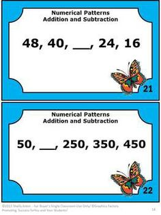 Patterns Packet: This packet contains 30 number patterns task cards for students to find the missing number in each numerical pattern. The number patterns are developed using addition or subtraction. A number patterns student response form and answer key are provided.  Number Patterns Common Core: CCSS.Math.Content.4.OA.C.5