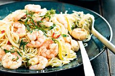 Lemon chilli and garlic prawns with angel hair pasta recipe, NZ Womans Weekly – This is one of my favourite ways to eat prawns as you can have dinner served in less than 15 minutesampnbsp - Eat Well (formerly Bite) Prawn Recipes, Seafood Recipes, Dinner Recipes, Cooking Recipes, Salad Recipes, Chilli Garlic Prawns, Garlic Shrimp, Angel Hair Pasta Recipes, Prawn Pasta