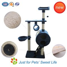 Cat Tree, the thickness of particle board: 1.5 cm, the diameter of the sisal rope: 5.6 mm and the diameter of the post: 6.9 cm. Your cats deserve it!