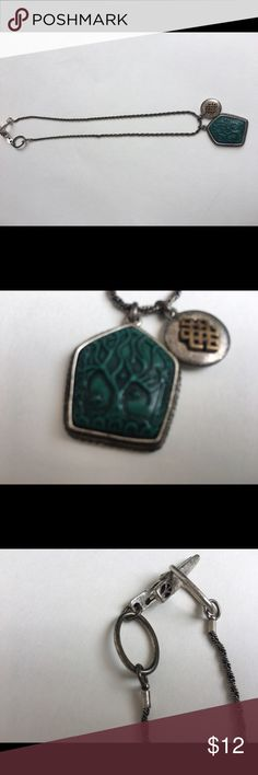 Lucky brand tree of life necklace. Silver and green Lucky brand tree of life and Celtic  necklace. Super interesting clasp.. 19 inch length Lucky Brand Jewelry Necklaces