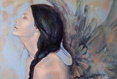 With Ancient Wings (Peinture), cm par Dorina Costras Original art, painting on cnvas Chris Rea, Portraits, Canvas Prints, Art Prints, Framed Prints, Angel Art, Love Painting, Art Pages, Figurative Art
