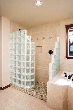 doorless walk in shower | Colored Glass Blocks for a Doorless Walk-In Shower