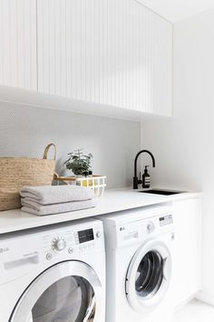 2 in Twelve Forever Home Bathrooms modern white laundry, matte black faucet, modern farmhouse laundry White Laundry Rooms, Modern Laundry Rooms, Laundry In Bathroom, Laundry Cupboard, Laundry Decor, Modern White Bathroom, Laundry Area, Laundry Closet, Laundry Basket