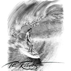Drawing of Gerry Lopez at Pipeline by surf artist @Phil Fishbein Fishbein Roberts cc @Lightning Bolt (USA)