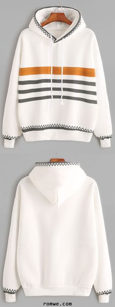 White Geo Print Trim Drop Shoulder Drawstring Hoodie