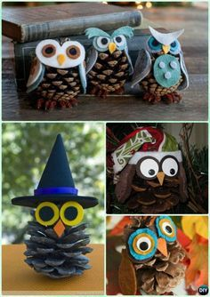 DIY Pinecone Owl Instruction - Kids Pine Cone Craft Ideas Projects - Diy and crafts interests Pinecone Owls, Pinecone Crafts Kids, Thanksgiving Crafts For Kids, Pinecone Ornaments, Pine Cone Crafts For Kids, Christmas Pine Cone Crafts, Christmas Art, Owl Crafts Kids, Preschool Crafts