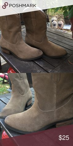 Taupe genuine leather cowgirl boots Taupe suede cowgirl boots. So cute with dress or jeans. American Eagle Outfitters Shoes