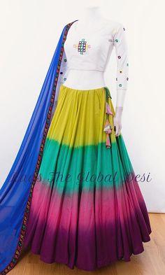 Silk Chania with designer brocade blouse and contrast dupatta Lehenga Choli, Blouse Lehenga, Lehenga Indien, Lengha Blouse Designs, Lehnga Dress, Choli Designs, Sharara, Sari, Indian Gowns Dresses