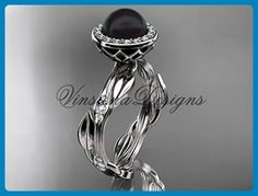 Platinum diamond leaf and vine, pearl engagement ring VFBP301002 - Wedding and engagement rings (*Amazon Partner-Link)