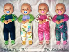 This set contains a pair of cute footies and matching scarf/bib  Found in TSR Category 'Sims 3 Female Clothing Sets'