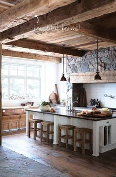 Love the rustic look of this kitchen!