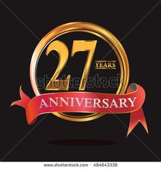 27 years anniversary golden logo with ring and soft red ribbon