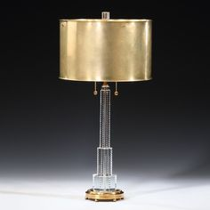 French Art Deco Stepped Brass & Crystal Table Lamp – English Georgian America