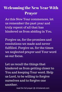 Prayer to welcome in the New Year 2015!