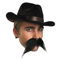 Gambler Big Western Moustache - This moustache is a black handle bar style that has self-adhesive strips that stick on your face. Complete a banker, biker, or bull bustin' cowboy this Halloween. Adult Halloween, Funny Halloween Costumes, Baby Costumes, Adult Costumes, Halloween Ideas, Moustache Party, Beard No Mustache