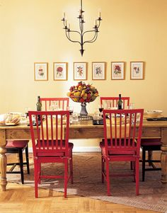 Like the idea of painting my eat-in kitchen table chairs a deep red and leaving the table plain wood to coordinate with my old olive, burgundy and brown Persian rug from Target. Ideas, ideas...