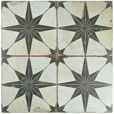 Merola Tile Kings Star Nero 17-5/8 in. x 17-5/8 in. Ceramic Floor and Wall Tile (11.1 sq. ft. / case)-FPESTRN - The Home Depot