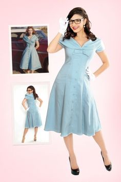 Bettie Page Clothing - 50s Jeannie Baby Blue Bow Swing Dress