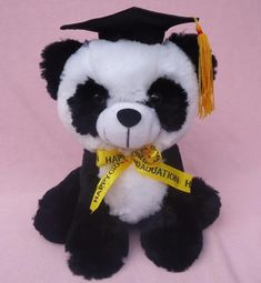 "Graduation Panda with cap 10"" Inches Plush"
