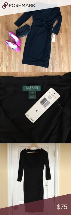 NWT Ralph Lauren Rouched Black Dress Brand New With Tags Ralph Lauren black dress. Length falls approximately below the knee to mid calf depending on your height. Perfect for any special occasion. Lauren Ralph Lauren Dresses Long Sleeve