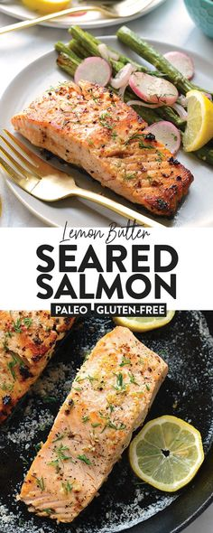 Pan Seared Salmon Recipe {With Lemon & Butter} – Fit Foodie Finds Make this Lemon Butter Pan Seared Salmon with 5 ingredients and in 20 minutes or less. Not only that, salmon is healthy and you can't feel bad eating something this good. Miso Glazed Salmon Recipe, Salmon Recipe Pan, Seared Salmon Recipes, Pan Fried Salmon, Healthy Salmon Recipes, Pan Seared Salmon, Lemon Recipes, Healthy Dessert Recipes, Fish Recipes