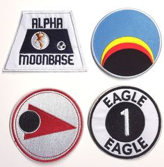 "Space 1999 Patch Set of 4 Uniform Patches 3"" to 3 5"" Free s H Sppa Set 4 