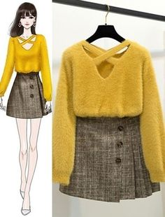 Pairing colors will either build or break your out Mode Outfits, Korean Outfits, Casual Outfits, Korea Fashion, Asian Fashion, Cute Fashion, Look Fashion, Illustration Mode, Fashion Design Sketches