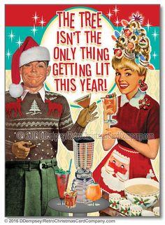Tipsy Couple Christmas Cards - Retro Christmas Cards
