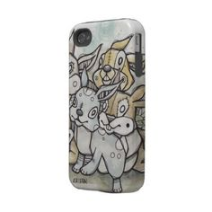 New ASH LETHAL iPhone Case. Designer Case with Art of a Group of Cartoon Bunny Rabbits.