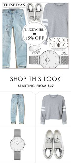 """Indigo with DW"" by lucky-1990 ❤ liked on Polyvore featuring Hollister Co., Daniel Wellington, ANNA, Acne Studios and danielwellington"