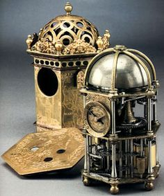 A Renaissance period hexagonal table clock with alarm, French, c. 1550. This clock illustrates the use of the fusée, invented by Leonardo Da Vinci in the 15th century.