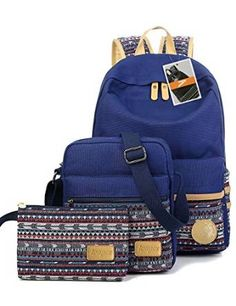 73ff6f6450c9 Leaper Casual Style Lightweight Canvas Laptop Bag Cute School Backpack  Shoulder Bag Pencil Case SetNavy Blue     Check out this great product.